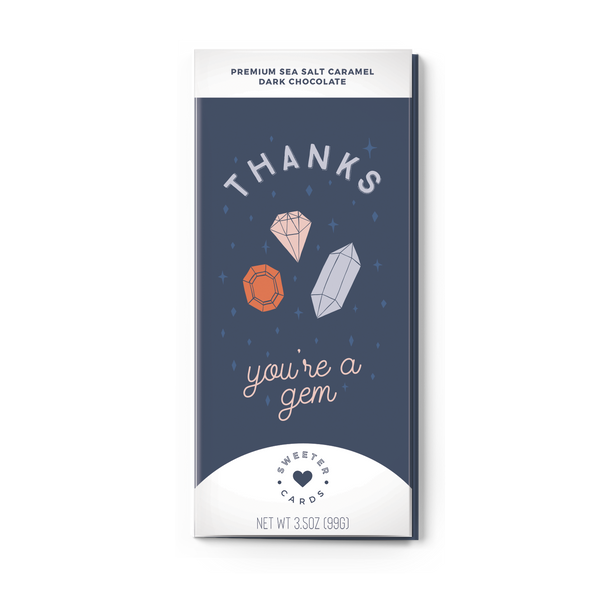 THANKS, YOU'RE A GEM Sea Salt Caramel Dark Chocolate Card