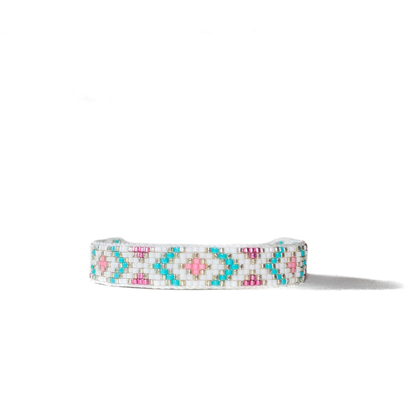 Beaded Bracelet - Laura Turquoise & Pink
