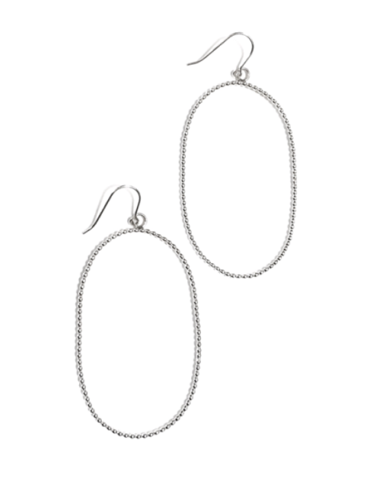 Large Oval Silver Earrings