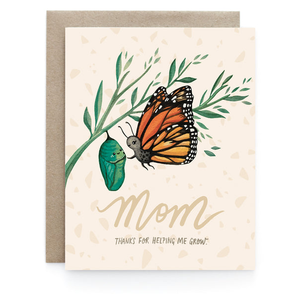 Mom Thanks for Helping Me Grow - Butterfly Card
