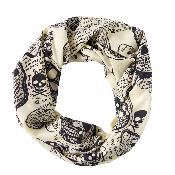 Cream and Black Skulls Lightweight Infinity Scarf