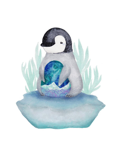 Art + Soul - Dumpling the Baby Penguin - 8 x 10 Wall Art
