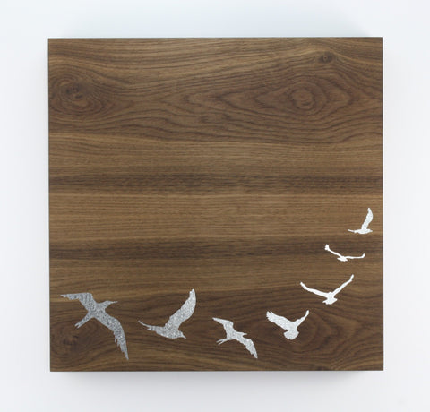 12x12 Walnut Veneer Magnet Board - Birds