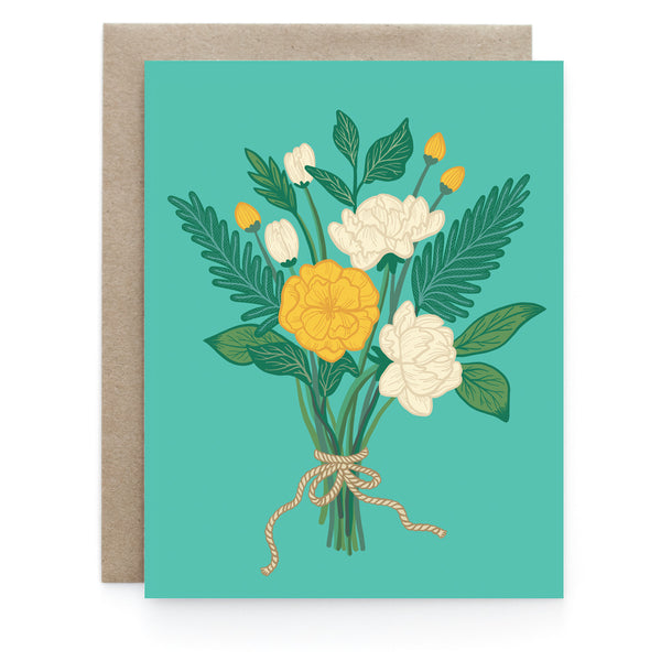 Teal Floral Greeting Card