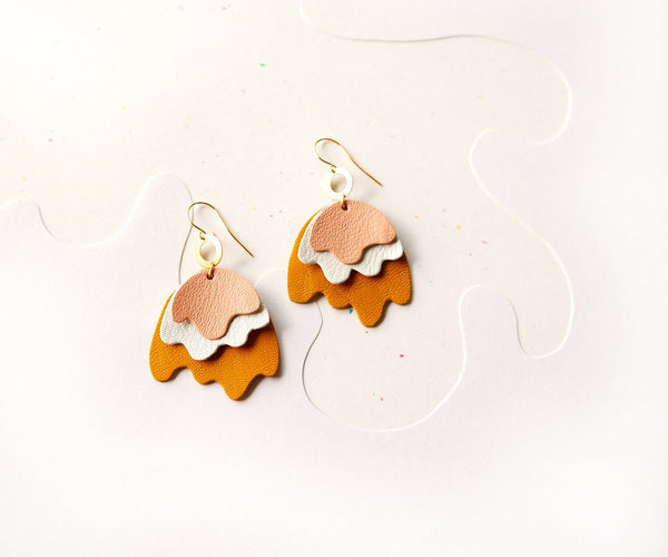 Melt Abstract Leather Earrings