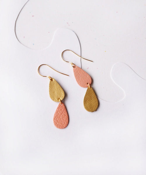 Drop Asymmetrical Leather Earrings