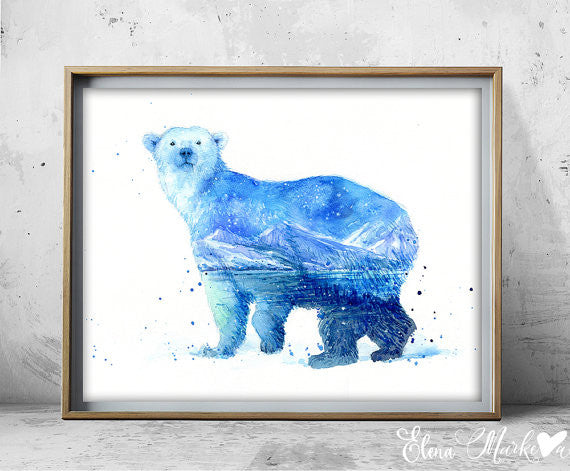 In the Ocean Art Print - Polar Bear