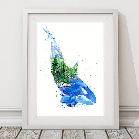 In the Ocean Art Print - Orca Whale