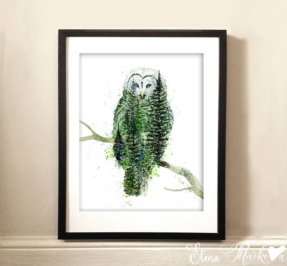 In the Skies Art Print - Owl