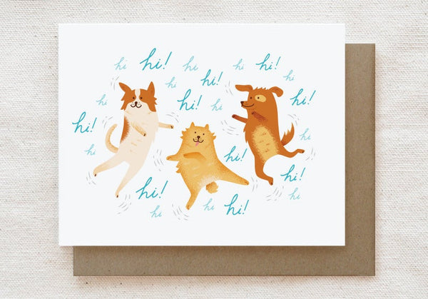 Excited Dogs Card