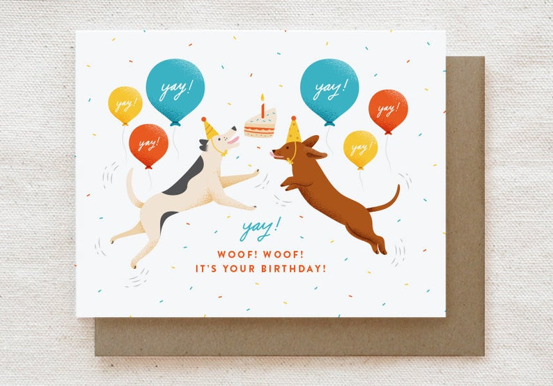Excited Dogs Birthday Card
