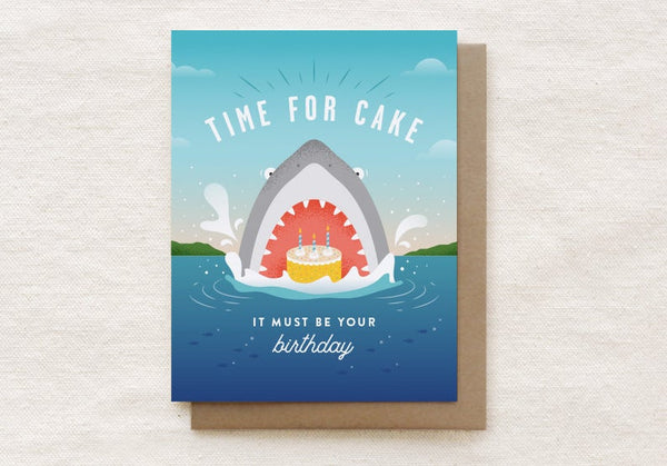 Shark Time for Cake Birthday Card