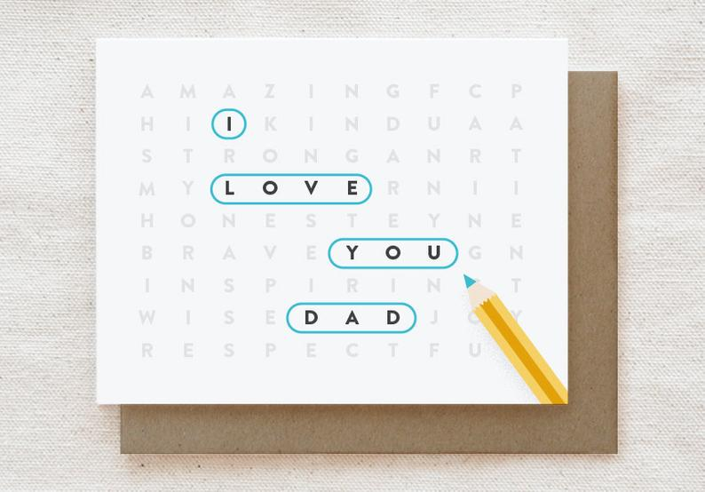 Word Search Dad Card