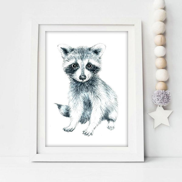 Nursery Print - Baby Raccoon