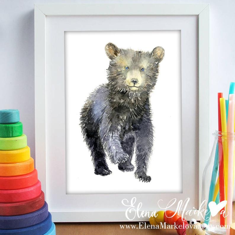 Baby Bear Nursery Art Print