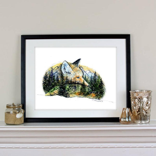 Undisturbed Fox / Mountains & Forest Spirit Animal Art Print