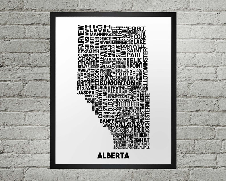 Map Print - Alberta Cities