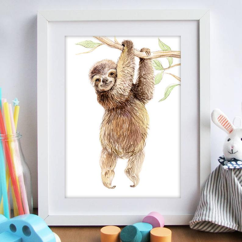 Baby Sloth Nursery Art Print