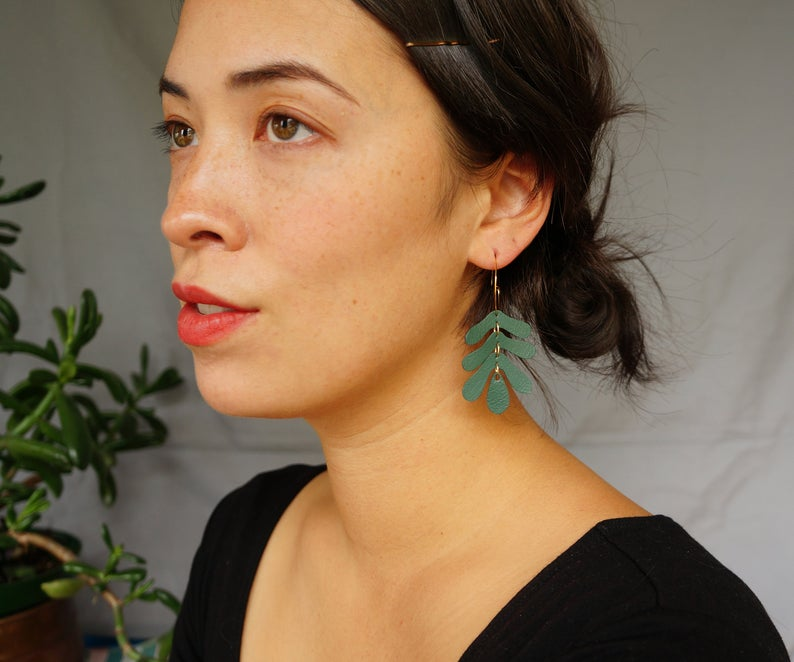 Oak Leaf Hoop Earrings