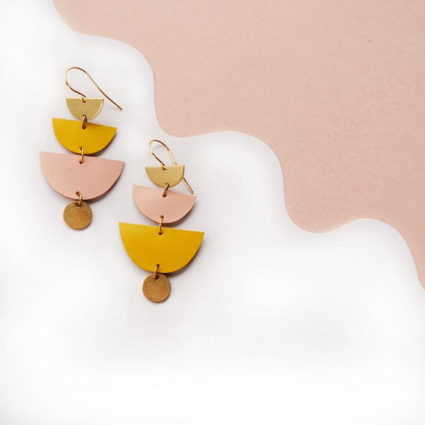 Sunset Halfmoon Leather Earrings