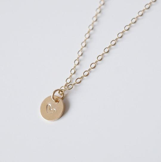 Tiny Gold Heart Coin Necklace