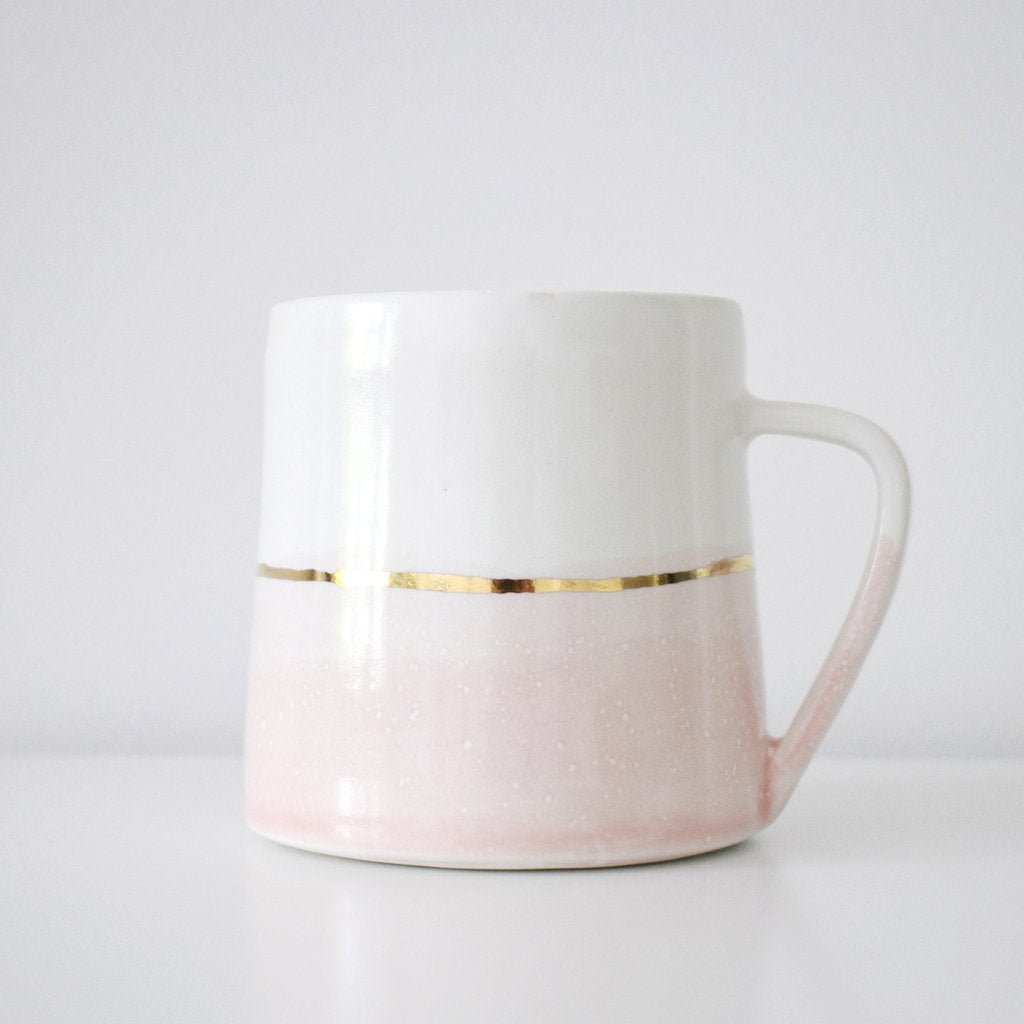 Mugs - Grey & Pink with Gold Speckles and Lines