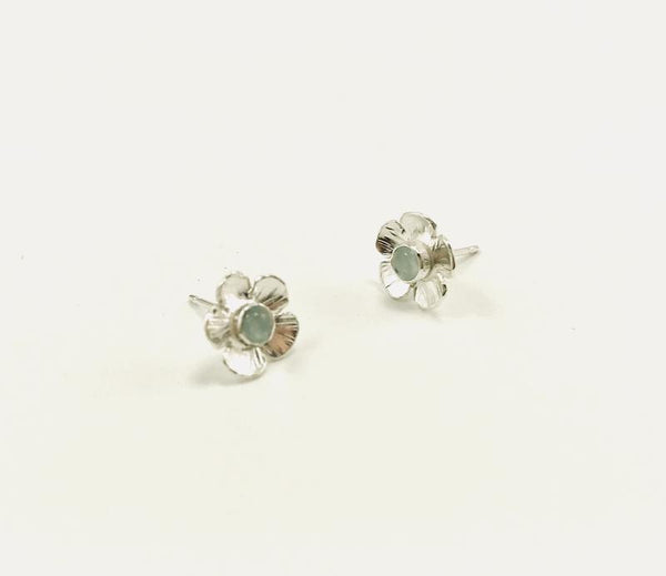 Flower Power Earrings - Aquamarine