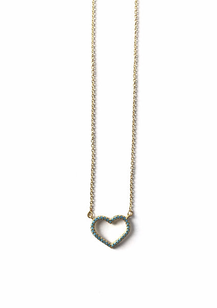 Turquoise Heart Gold Necklace
