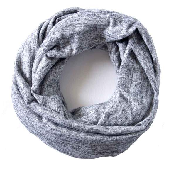 Light Grey Heathered Sweater Knit Infinity Scarf