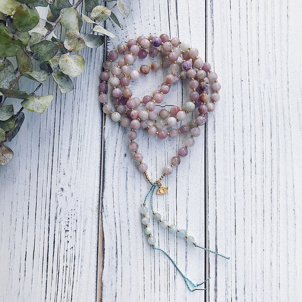 Lilac Jasper + Aquamarine Mala Necklace