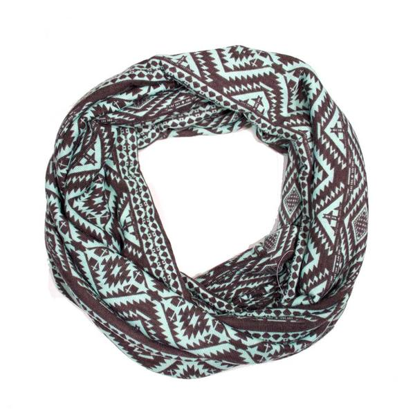 Mint Chocolate Aztec Sweater Knit Infinity Scarf