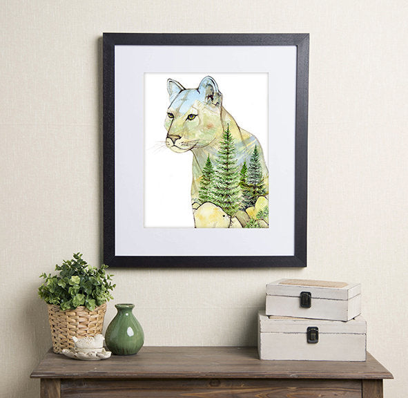 In the Forest Art Print - Mountain Lion
