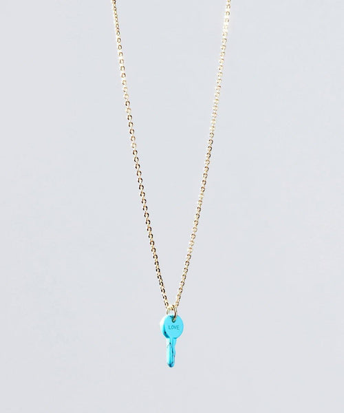 Turquoise Stone Mini Key Necklace