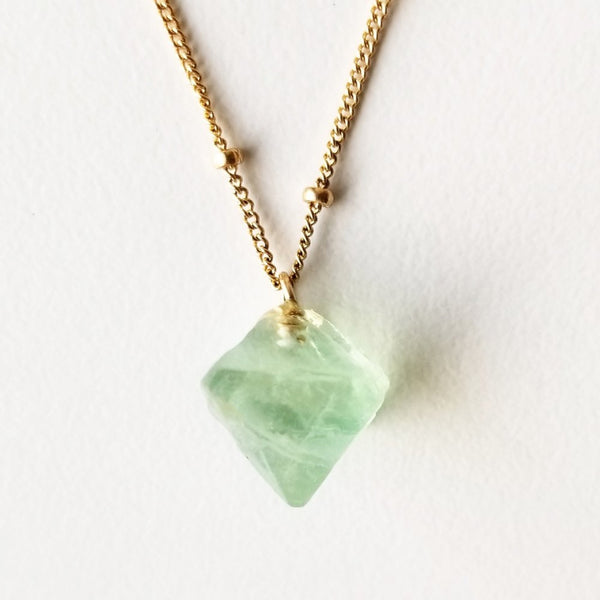 Poise Light Green Necklace  - Green Fluorite & Gold