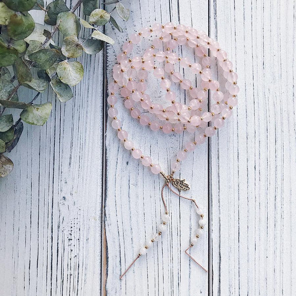 Rose Quartz + Moonstone Mala Necklace