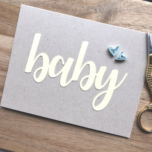 Baby - Yellow Script with Hearts Card