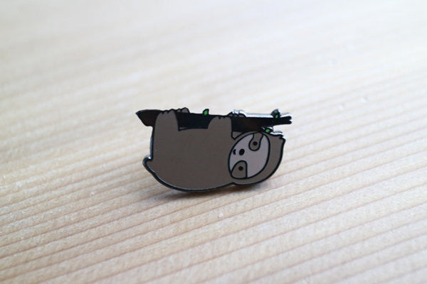 Sloth on Branch Enamel Pin