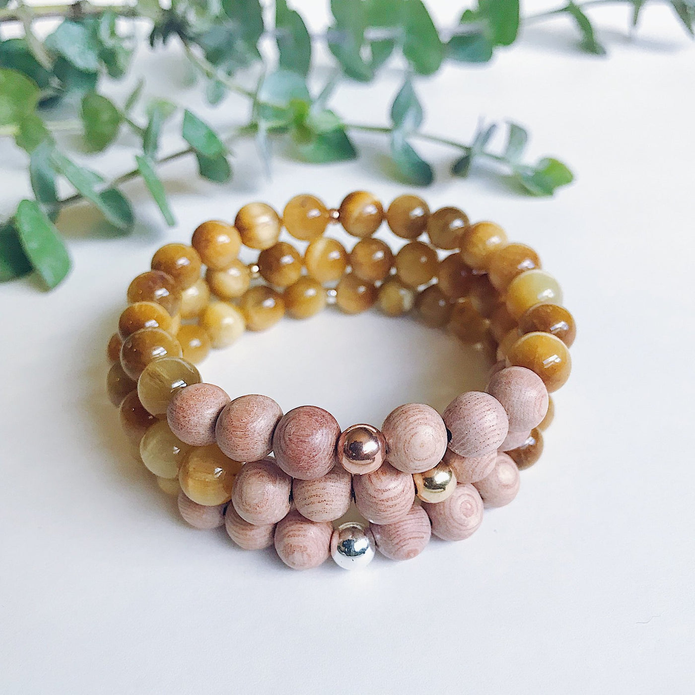Gold Tigers Eye + Rosewood Mala Bracelet