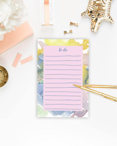 To Do Note Pad - Cute Watercolour Design