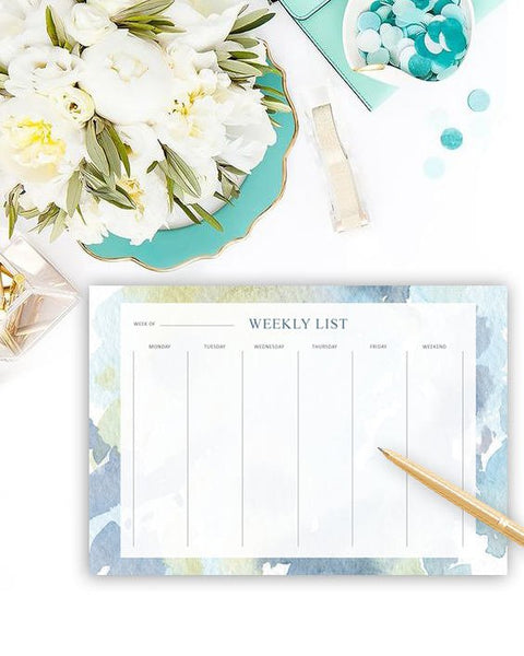 Weekly List Desk Pad - Cute Watercolour