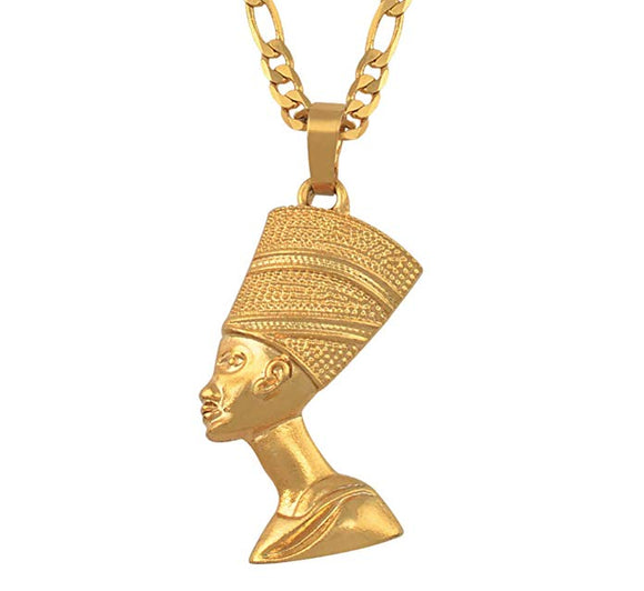 Gold Tone Queen Nefertiti Necklace African Chain The Younger Lady Pharaoh Wife King Tut 24in