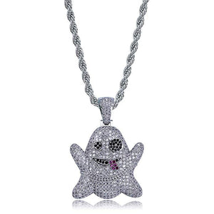 Emoji Ghost Necklace Hip Hop Jewelry Emoji Ghost Chain Rose Simulated Diamond Pendant Cartoon Necklace Gold Silver Color Metal Alloy