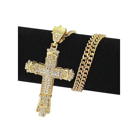 Jesus Cross Necklace Hip Hop Jewelry Simulated Diamond Cross Pendant Silver Cuban Link Chain Cross Necklace 24in.