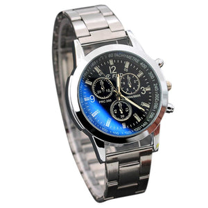 Silver Relogio Masculino Mens Classic Quartz Analog Watch Luxury Fashion Sport (Black Face)