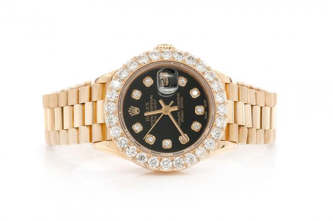 DIAMOND ROLEX 2.06CTW 26MM YELLOW 18K GOLD ROLEX  ICED OUT ROLEX BLACK FACE WATCH BUST DOWN