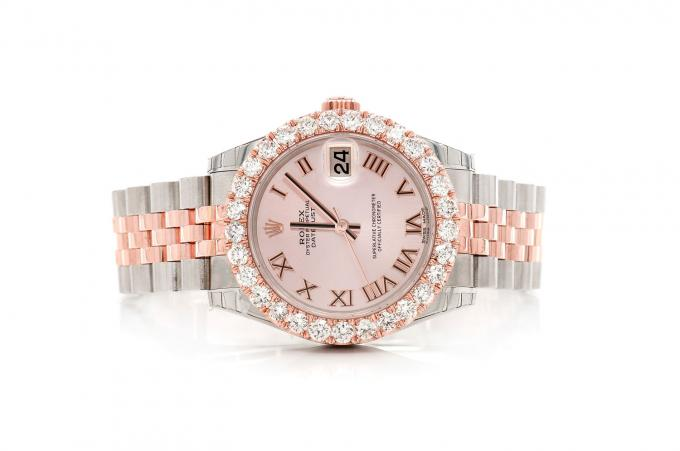 PRE-OWNED ROLEX JUBILEE BAND DATEJUST 31MM TWO-TONE FEMALE 1.78CTW GOLD ROLEX ICED OUT PINK ROLEX WATCH BUST DOWN USED