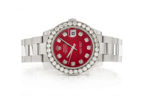 2.64CTW DIAMOND ROLEX 31MM DATEJUST ICED OUT ROLEX RED FACE WATCH BUST DOWN