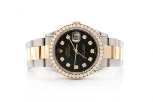 OYSTER DATEJUST 36MM TWO-TONE MALE 2.20CTW DIAMOND ROLEX ICED OUT ROLEX BLACK FACE WATCH BUST DOWN