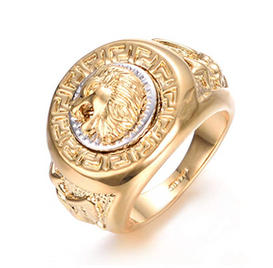 Gold Lion of Judah Ring Silver Versace Lion Head Ring Jewish Hip Hop Ring Hebrew Israelite Jewelry