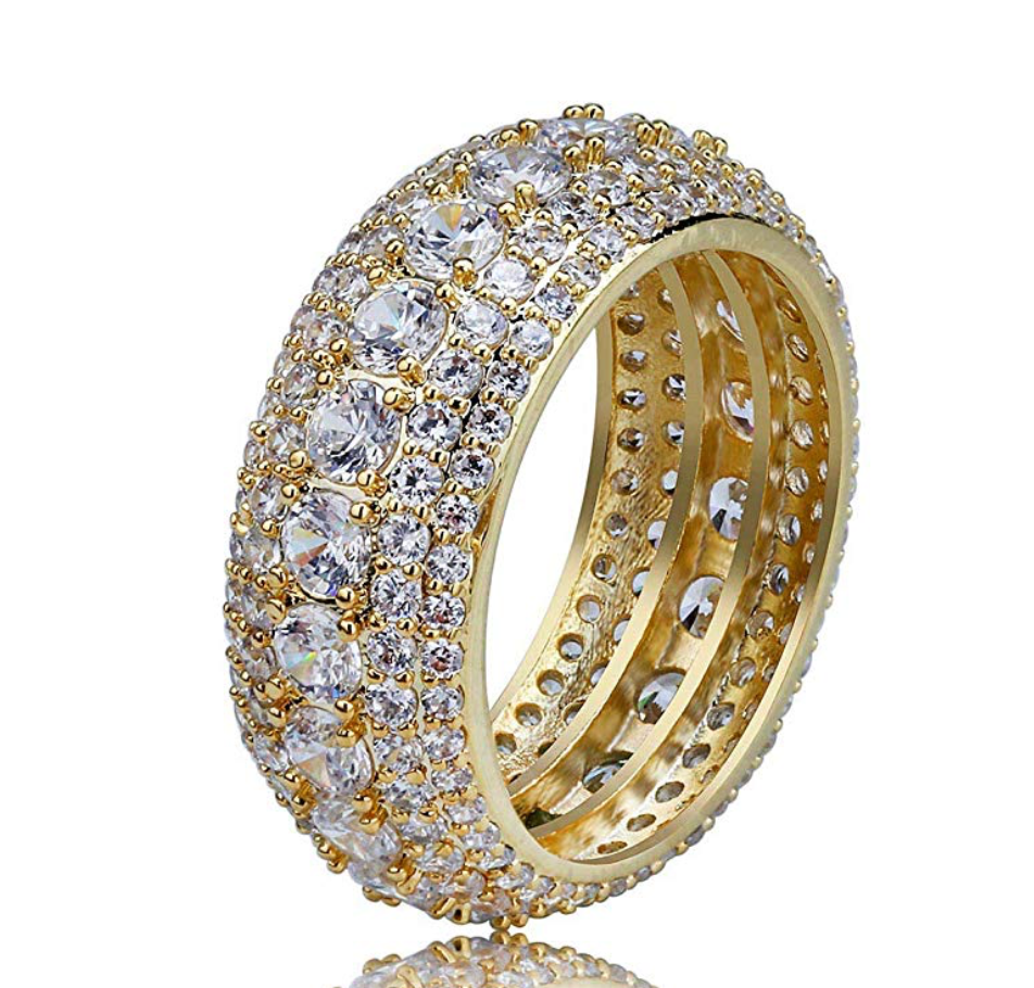 Big Gold Ring Diamond Hip Hop Jewelry Iced Out Ring Circle Round Cut Silver Bling Ring (4.5ct.)